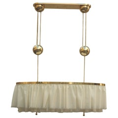 "Adolf Loos Jugendstil Brass&Silk Chandelier ""Dinner"" with a pulley, re-edition"