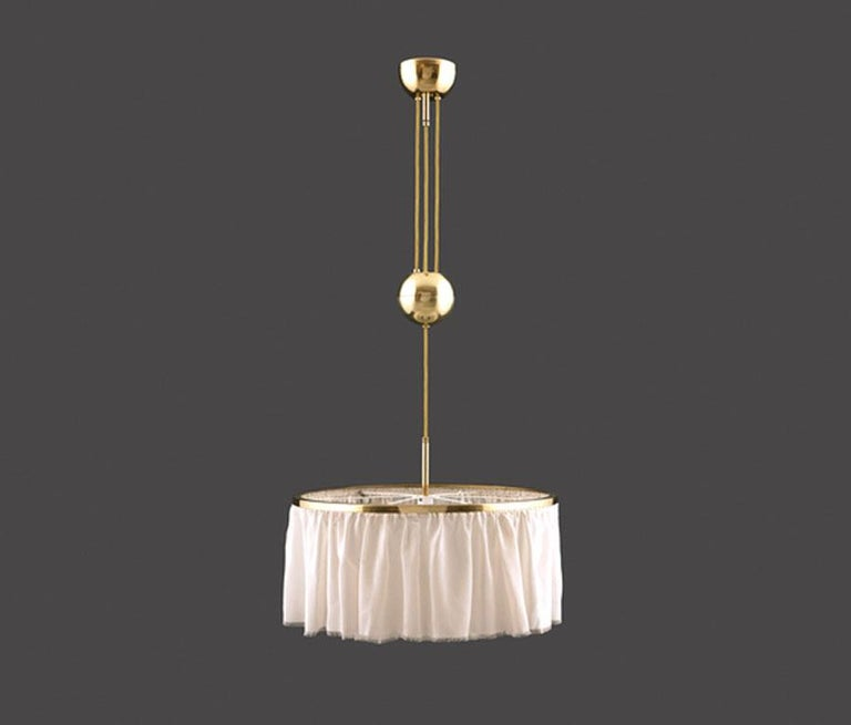 Austrian Adolf Loos Silk and Brass Pulley Chandelier Re-Edition  For Sale
