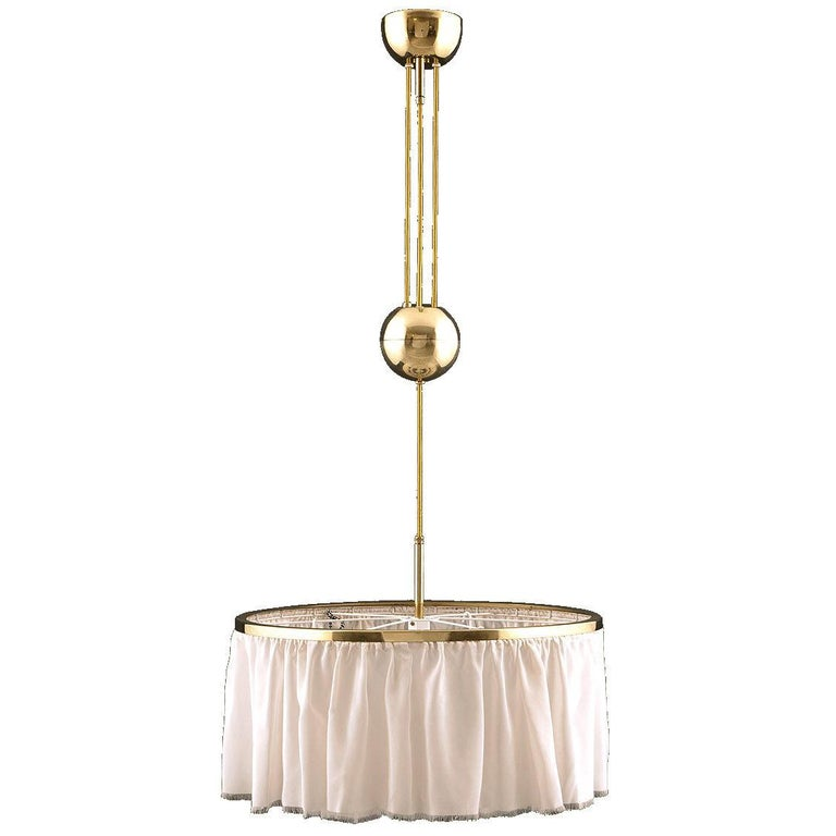 Adolf Loos Silk and Brass Pulley Chandelier Re-Edition  For Sale