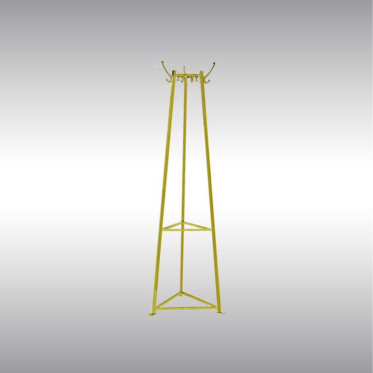 Very elegant coat stand, heavy and stabile.  Brass, optionally varnished or nickel-plated, all other surfaces on request.  Now manufactured at the Woka Workshop in Vienna.