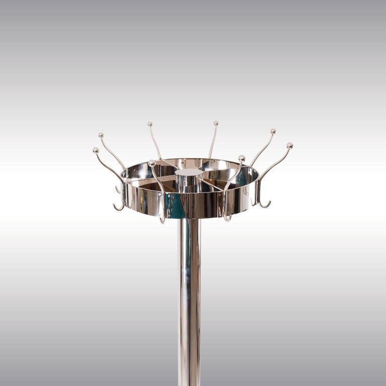 Coat stand from the famous Looshouse, Michaeler-Platz, Vienna, originally fixed on the wall, for a free-standing Version, the base will be enlarged from now 300mm to 600mm. The upper rim is turnable and measures 400mm, the total diameter including