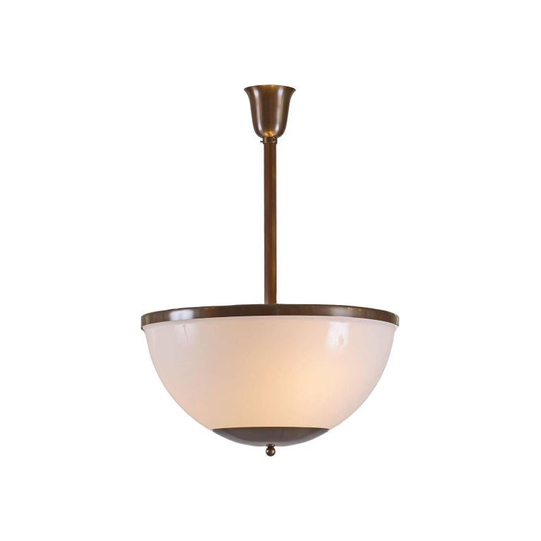 Ceiling light with opaline glass shade, different sizes, comes as well as a downlight. Total drop custom made.