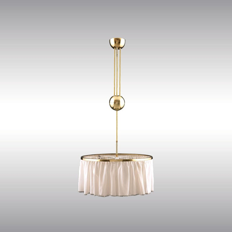 Adolf Loos Silk and Brass Pulley Chandelier Re-Edition  In New Condition For Sale In Vienna, AT