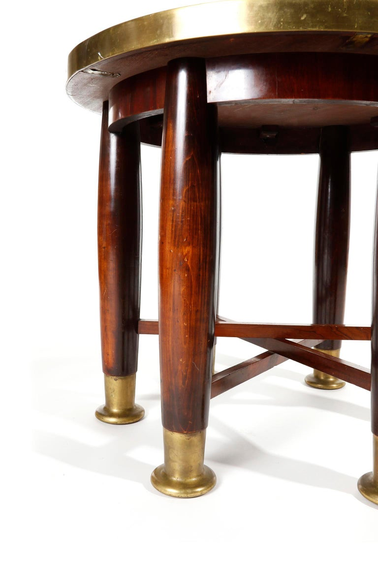 Adolf Loos Six-Legged 'Haberfeld' Table, F.O. Schmidt, Brass Wood, Austria, 1899 For Sale 3