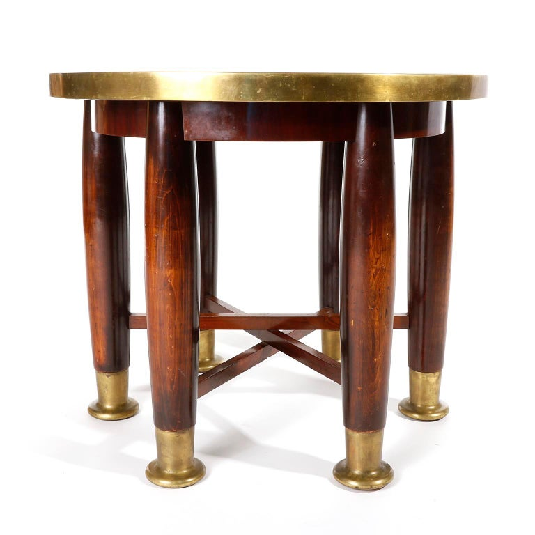 Art Deco Adolf Loos Six-Legged 'Haberfeld' Table, F.O. Schmidt, Brass Wood, Austria, 1899 For Sale