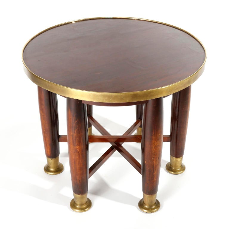 Austrian Adolf Loos Six-Legged 'Haberfeld' Table, F.O. Schmidt, Brass Wood, Austria, 1899 For Sale