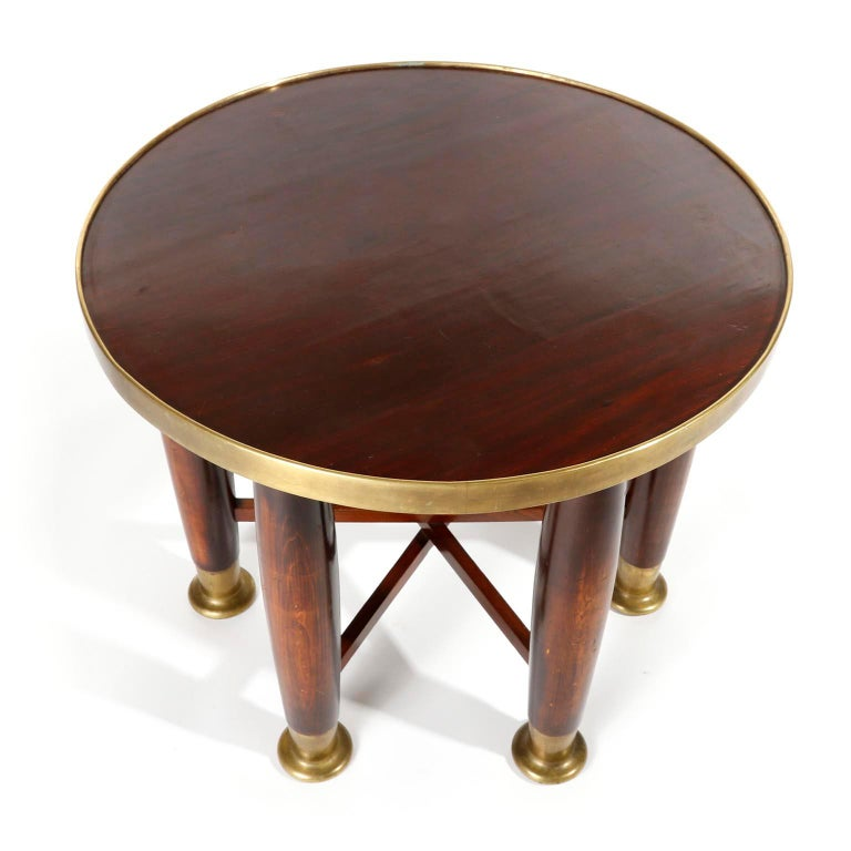 Polished Adolf Loos Six-Legged 'Haberfeld' Table, F.O. Schmidt, Brass Wood, Austria, 1899 For Sale