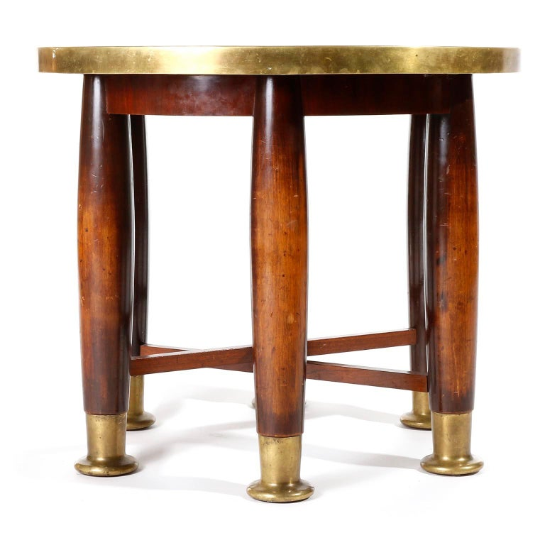 Adolf Loos Six-Legged 'Haberfeld' Table, F.O. Schmidt, Brass Wood, Austria, 1899 In Good Condition For Sale In Vienna, AT