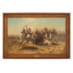 'Arab Cavalry in Retreat', 19th Century Orientalist oil painting
