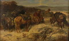 """""""Arab Scouts,"""" Adolph Schreyer, Middle Eastern Orientalist Scene with Horses"""