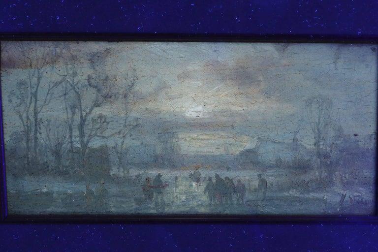 Adolf Stademan 'Figures Skating at Dusk' Barbizon Antique Landscape Painting For Sale 2