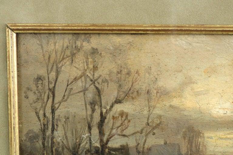 Barbizon School Adolf Stademan 'Figures Skating at Dusk' Barbizon Antique Landscape Painting For Sale