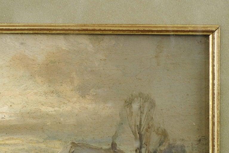 German Adolf Stademan 'Figures Skating at Dusk' Barbizon Antique Landscape Painting For Sale