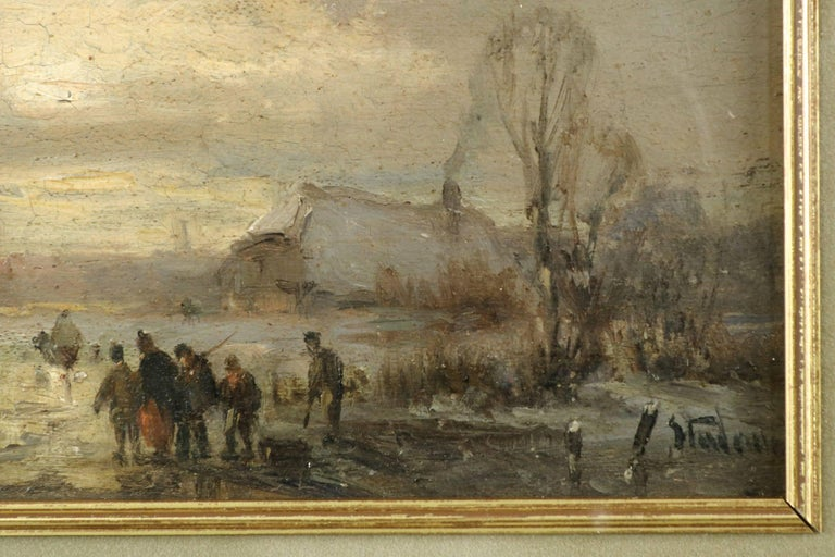 Adolf Stademan 'Figures Skating at Dusk' Barbizon Antique Landscape Painting In Good Condition For Sale In Shippensburg, PA
