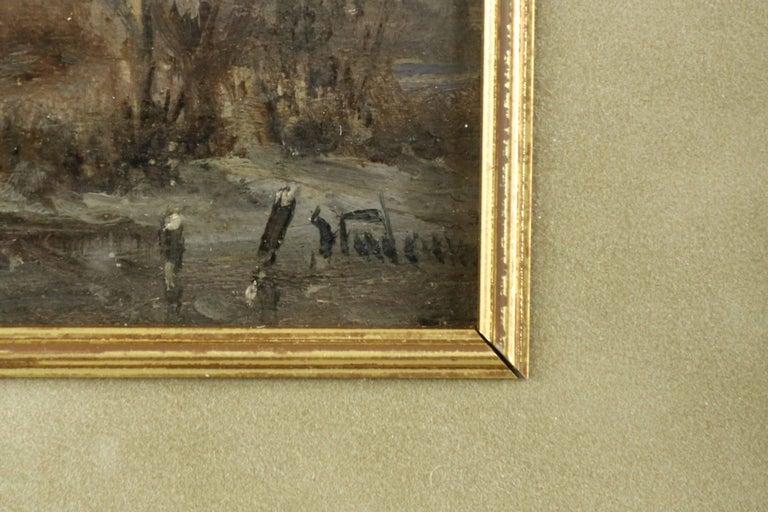 19th Century Adolf Stademan 'Figures Skating at Dusk' Barbizon Antique Landscape Painting For Sale