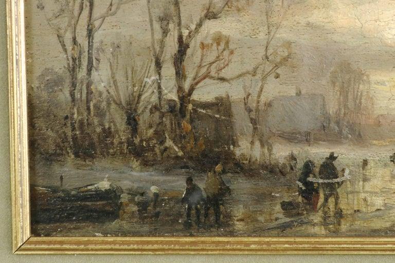 Mahogany Adolf Stademan 'Figures Skating at Dusk' Barbizon Antique Landscape Painting For Sale