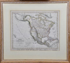 A Framed 19th Century German Map of North America by Adolph Stieler