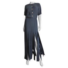 Adolfo 1970s Navy Silk Car Wash Maxi Dress