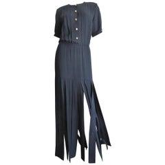Adolfo 1970s Silk Car Wash Maxi Dress