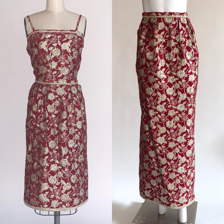Three piece Adolfo burgundy red and metallic floral brocade skirt(s) and top set, circa 1970s- 80s, ensures you're set for any occasion! Pair the the bodice with the long skirt for formal events, or the shorter skirt for cocktails! (Or pair the top