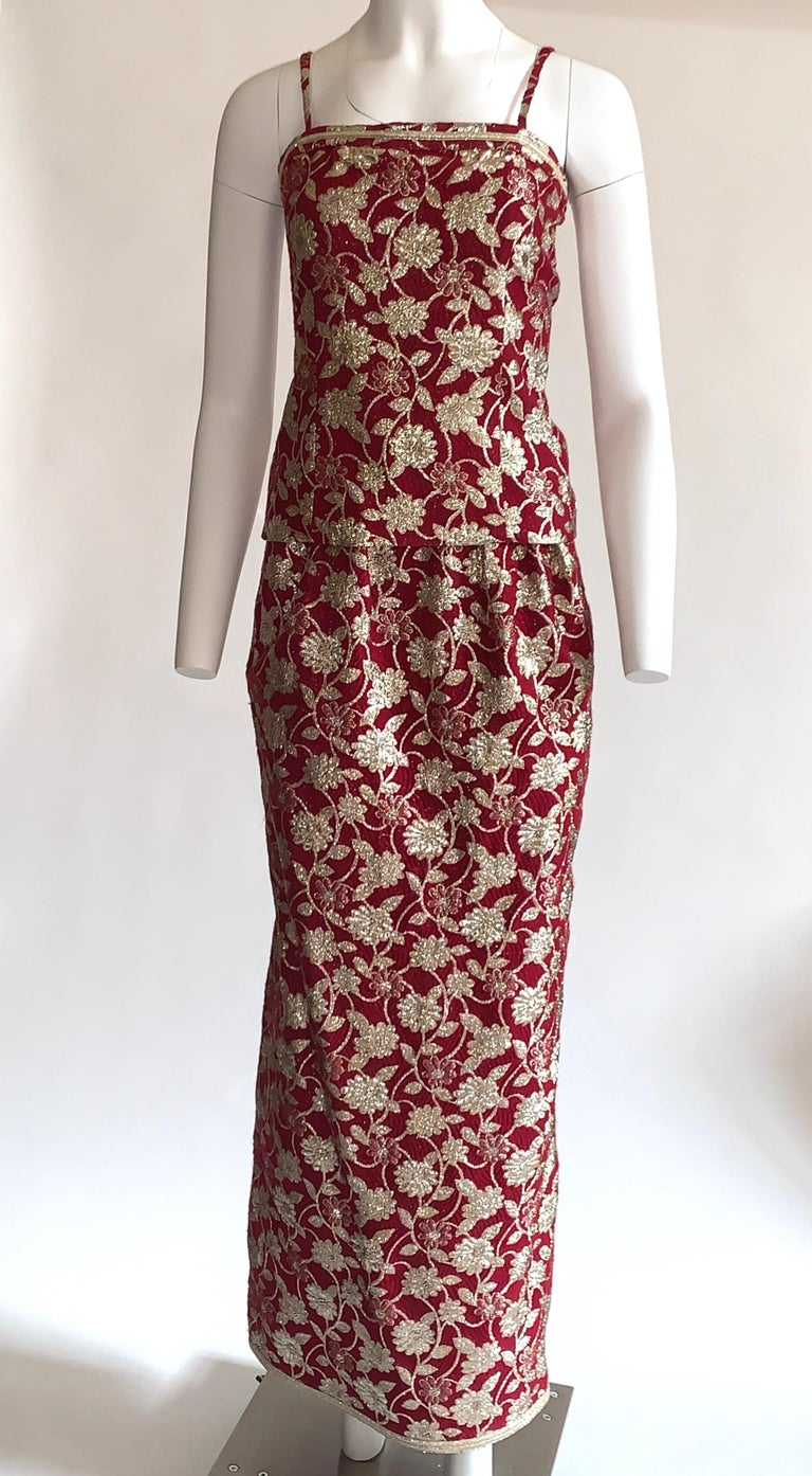 Adolfo 1970s Three Piece Red and Metallic Midi or Maxi Skirt and Tank Dress Set  In Good Condition For Sale In San Francisco, CA