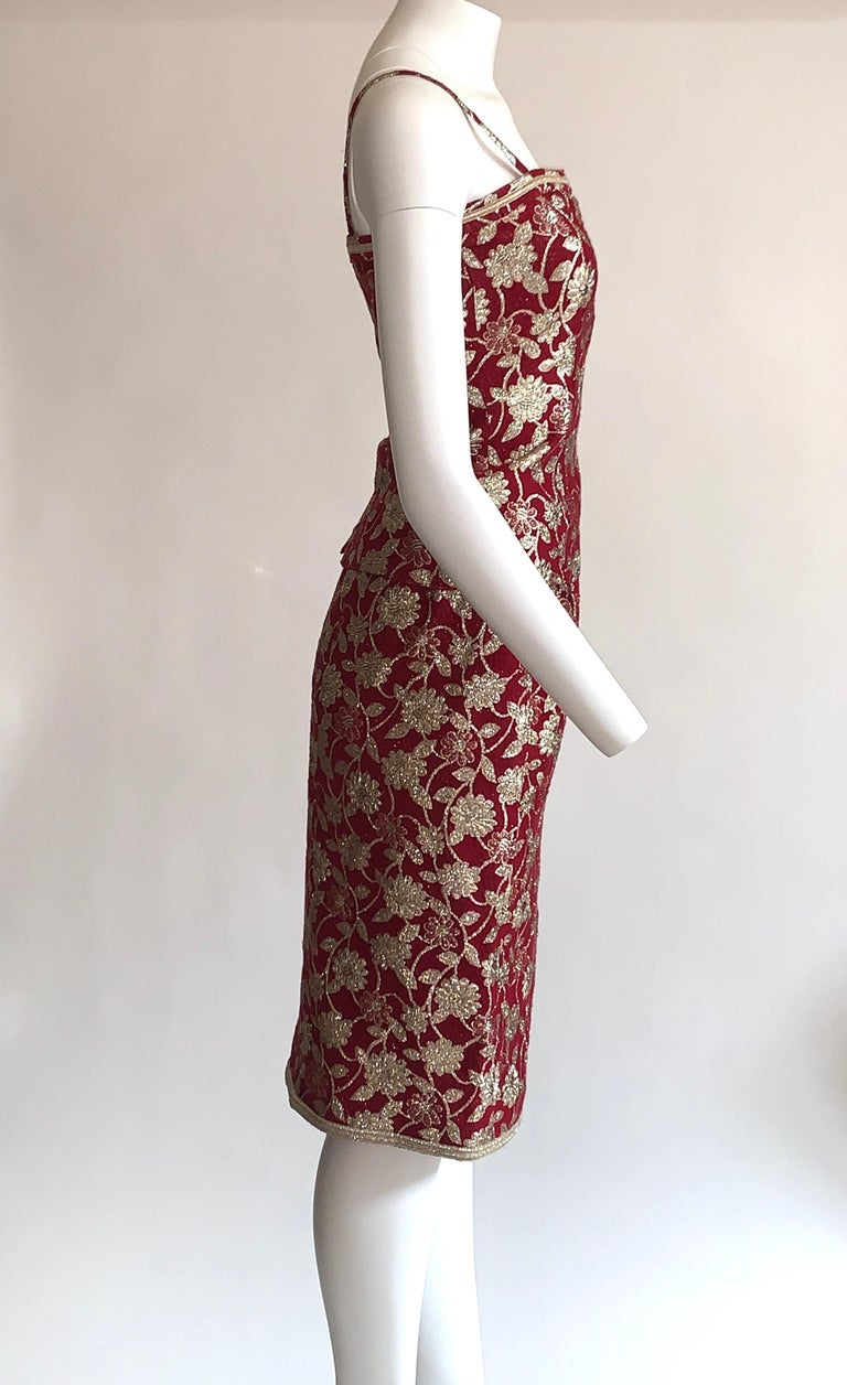 Women's Adolfo 1970s Three Piece Red and Metallic Midi or Maxi Skirt and Tank Dress Set  For Sale