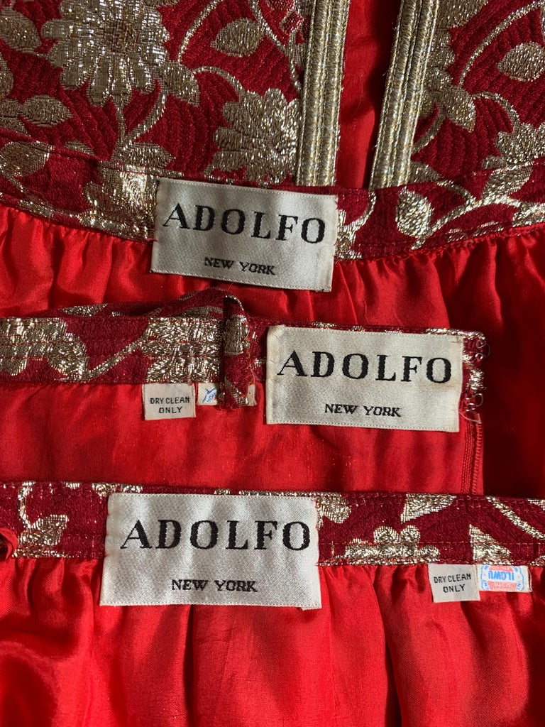 Adolfo 1970s Three Piece Red and Metallic Midi or Maxi Skirt and Tank Dress Set  For Sale 4