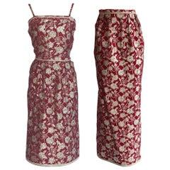 Adolfo 1970s Three Piece Red and Metallic Midi or Maxi Skirt and Tank Dress Set