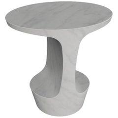 Adolfo Abejon 'Atlas' Carrara White Marble Side Table