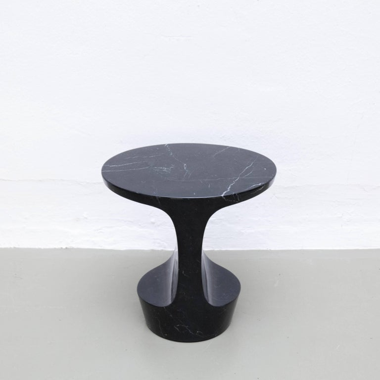 Contemporary Adolfo Abejon 'Atlas' Black Marble Side Table For Sale