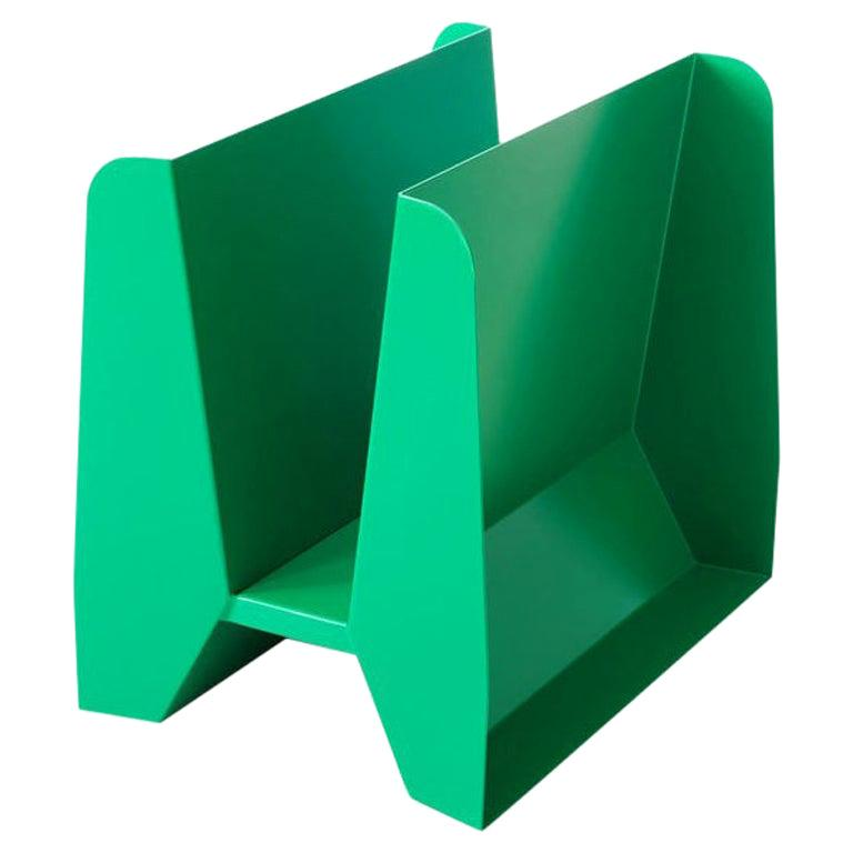 Adolfo Abejon Contemporary 'Adler' Green Metal Sculptural Magazine Rack