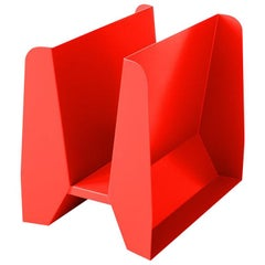 Adolfo Abejon Contemporary 'Adler' Red Metal Sculptural Magazine Rack