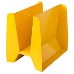 Adolfo Abejon Contemporary 'Adler' Yellow Metal Sculptural Magazine Rack