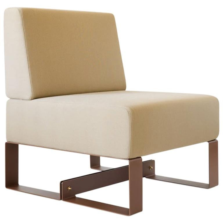 Adolfo Abejon Contemporary 'Cubit' Brown Sculptural Easy Chair