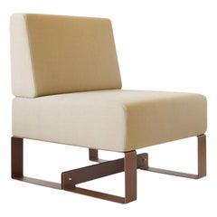 Adolfo Abejon Contemporary 'Cubit' Brown Sculptural Easy Chair