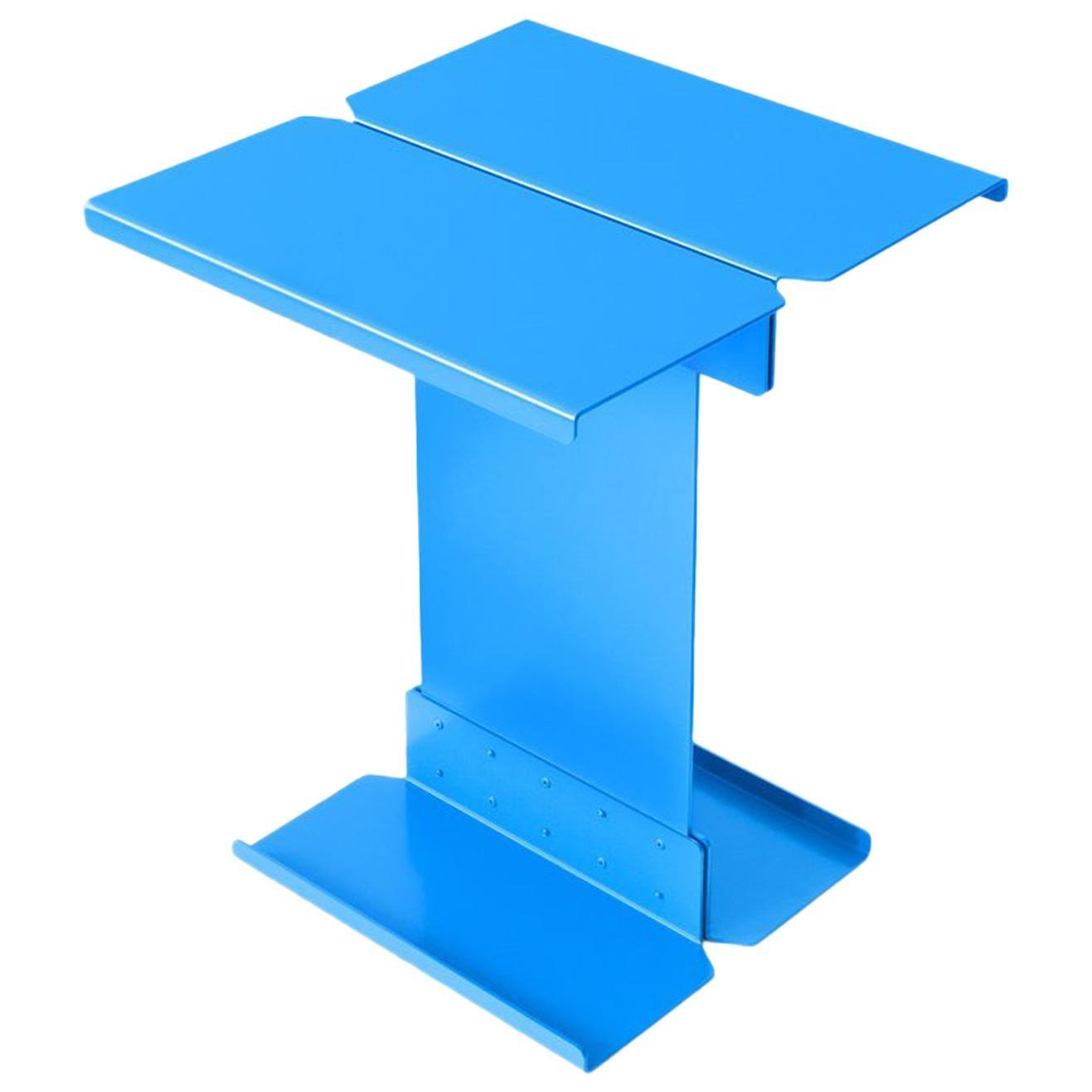 Adolfo Abejon Contemporary 'Five' Blue Metal Sculptural Coffee Table