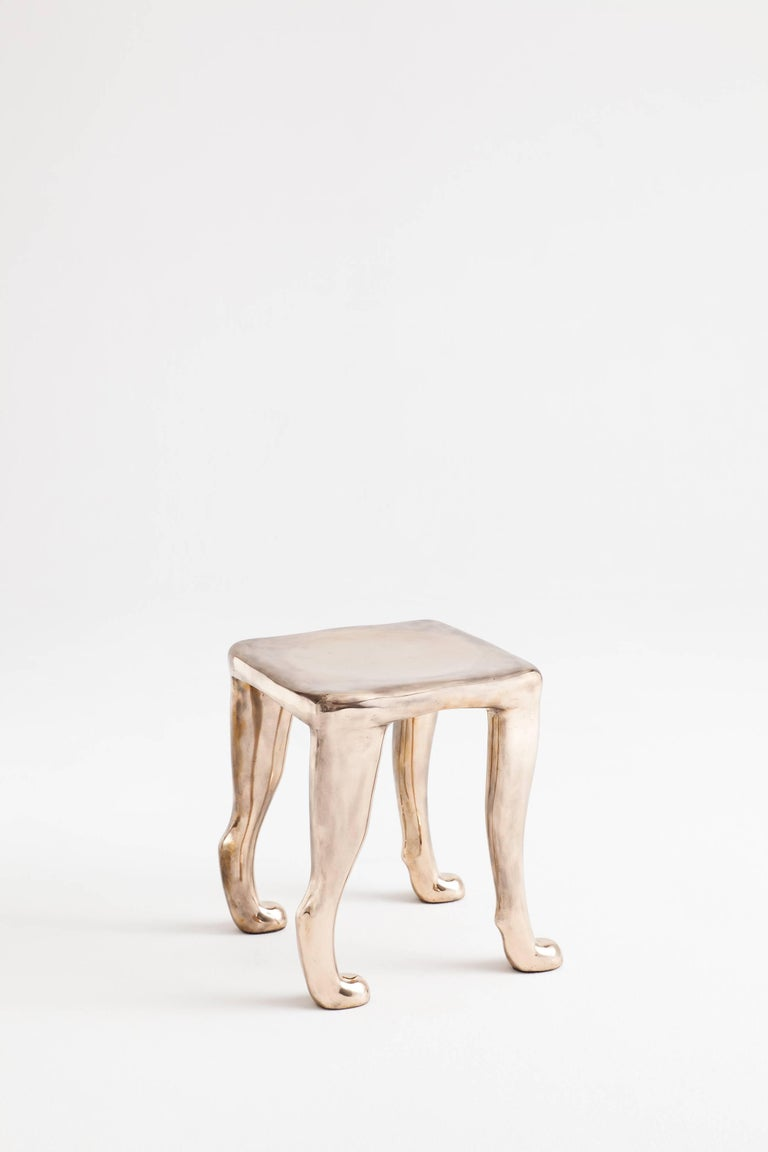 Mid-Century Modern Adolfo Abejon, Contemporary Limited Edition of 8 Bronze Sculpture Stool 'Khamon' For Sale