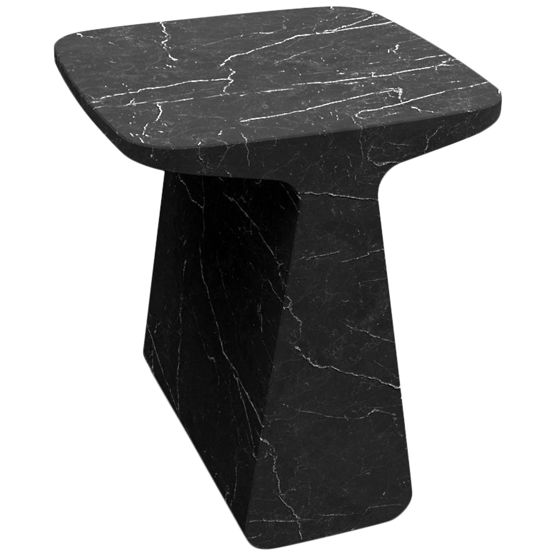 Adolfo Abejon Contemporary 'Pura' Black Marquina Marble Sculptural Coffee Table