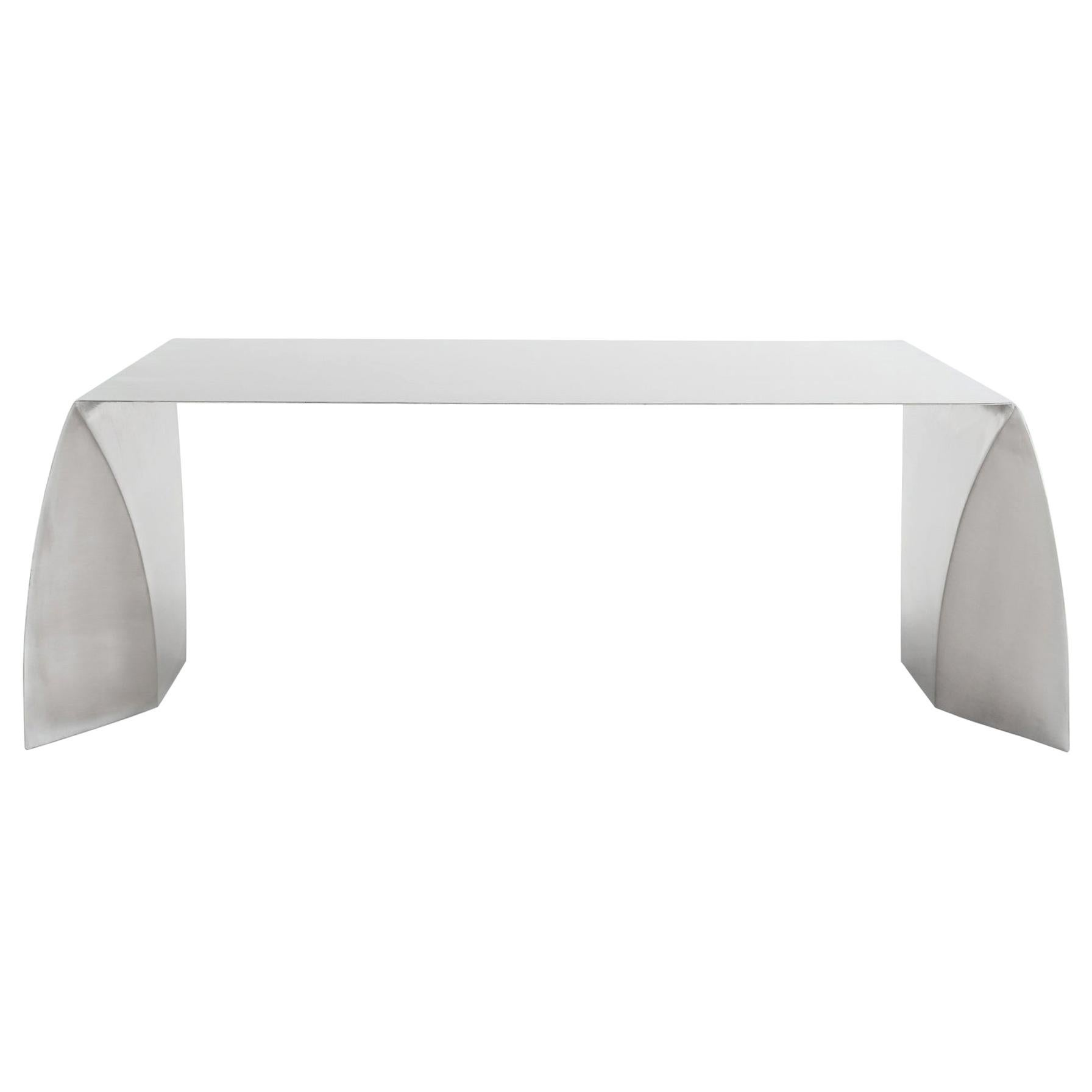 Adolfo Abejon Contemporary Rationalist Design Stainless Steel Kate Coffee Table