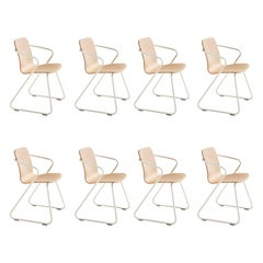 Adolfo Abejon Set of 8 Contemporary 'Cobra' Wood and Metal Sculptural Chair