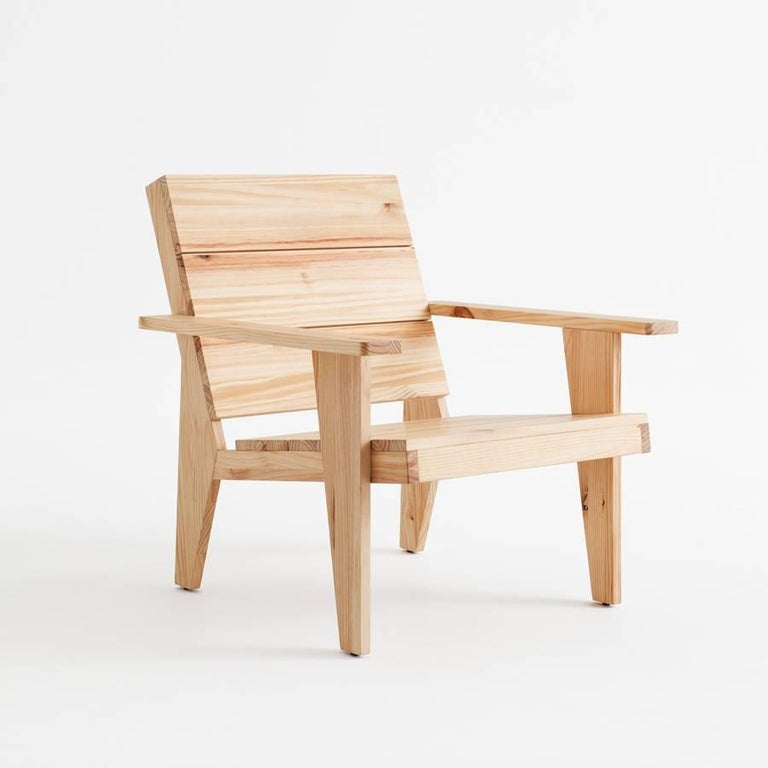 Modern Adolfo Abejon Contemporary 'Woody' Formalist Armchair in Pine Wood For Sale