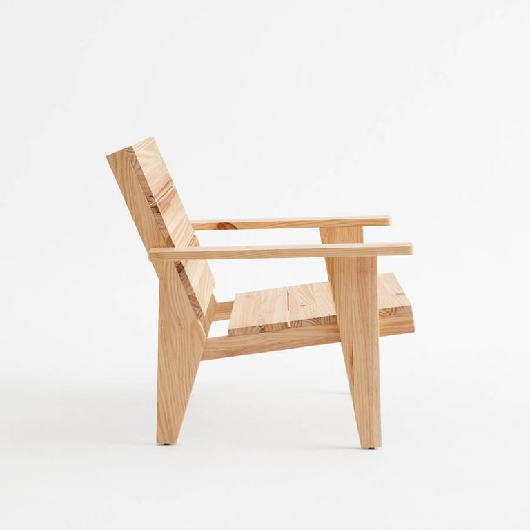 Spanish Adolfo Abejon Contemporary 'Woody' Formalist Armchair in Pine Wood For Sale