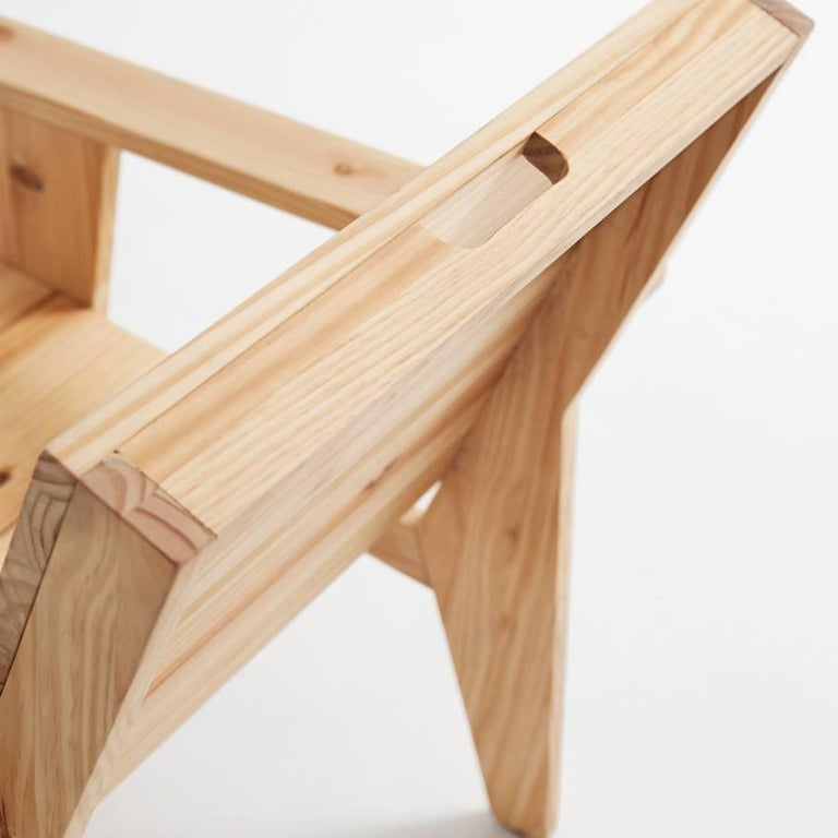 Adolfo Abejon Contemporary 'Woody' Formalist Armchair in Pine Wood In Good Condition For Sale In Barcelona, Barcelona
