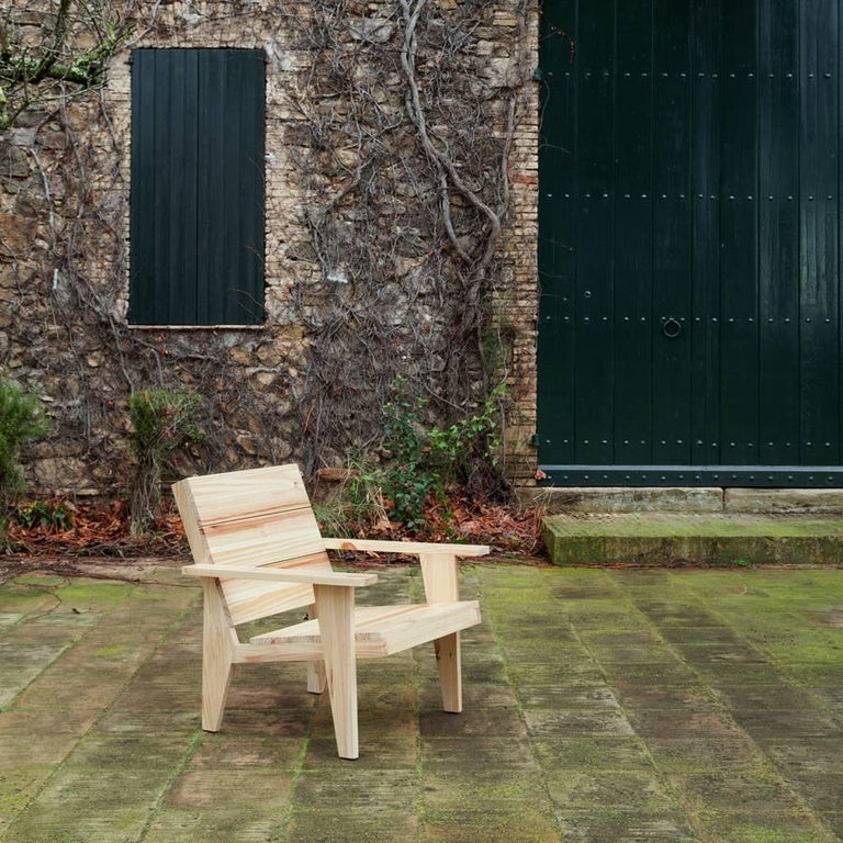 Adolfo Abejon Contemporary 'Woody' Formalist Armchair in Pine Wood For Sale 1