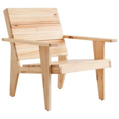 Adolfo Abejon Contemporary 'Woody' Formalist Armchair in Pine Wood