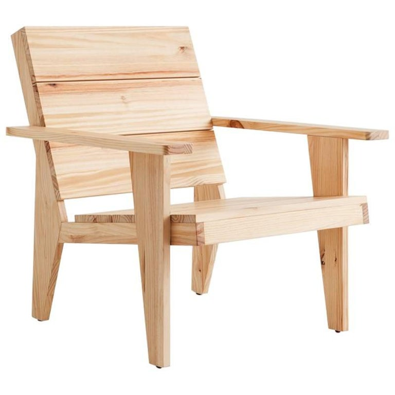 Adolfo Abejon Contemporary 'Woody' Formalist Armchair in Pine Wood For Sale