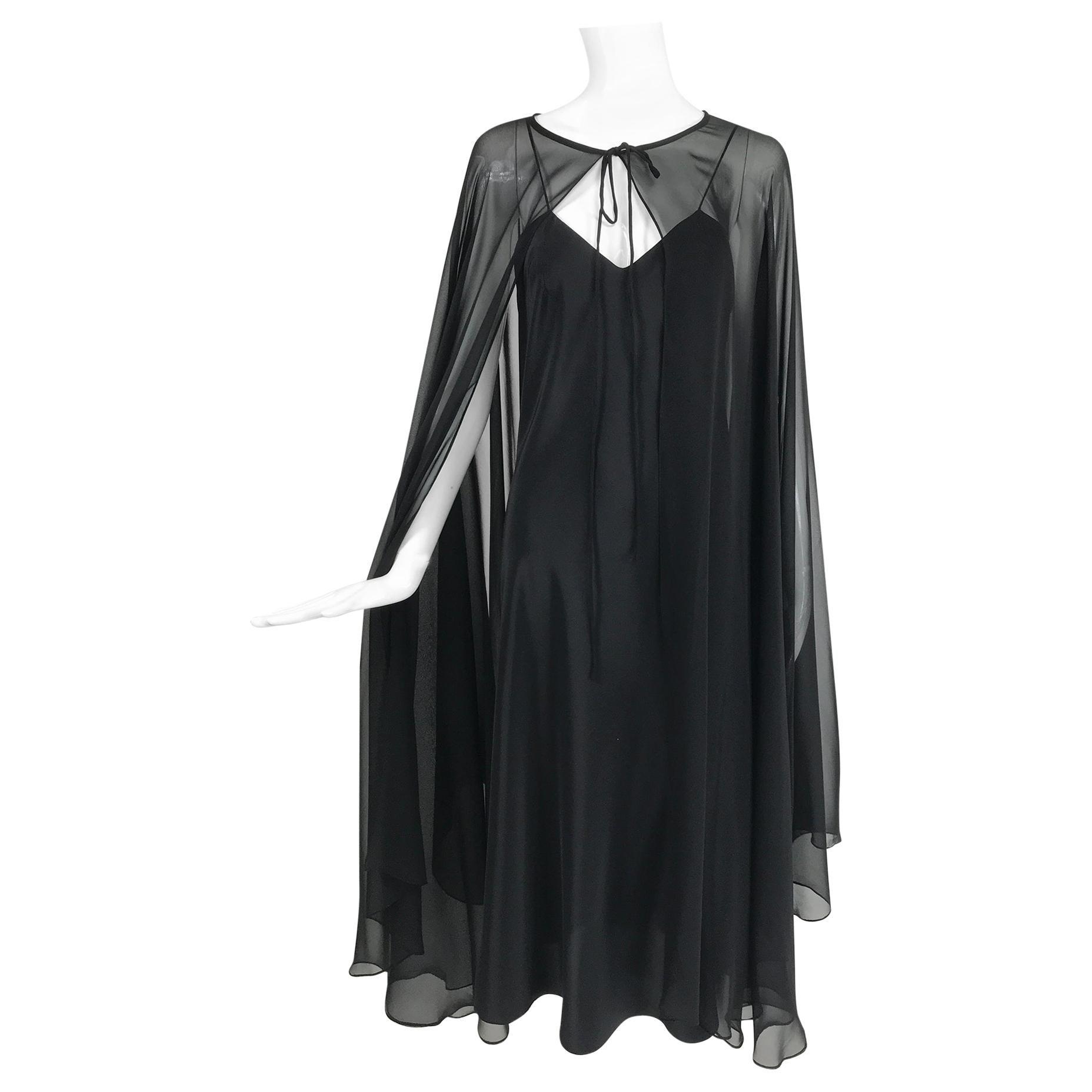 Adolfo Black Bias Cut Silk Slip Dress and Silk Chiffon Cape Set 1970s