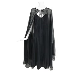 Adolfo Black Bias Cut Silk Slip Dress and Silk Chiffon Cape Set 1970s