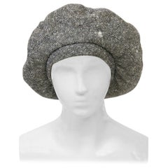 Adolfo Black/White Tweed Beret, c.1970