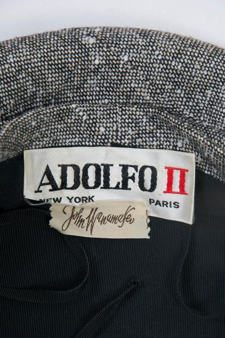 Adolfo Black/White Tweed Beret For Sale 5